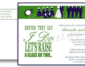 Wedding Party Rehersal Dinner Invitation // Custom Wedding Grooms Dinner Invitation // Wedding Party Invitation