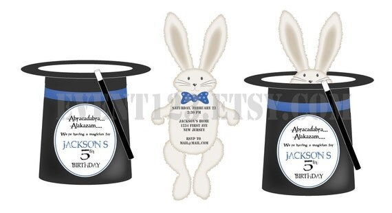 Magician Hat Invitation // Top Hat WithRabbit // Magic BIrthday Invite // Die Cut Hat and Rabbit Invitation