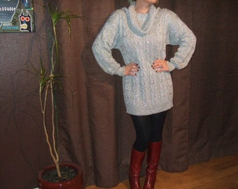 Vintage Cowl Dolman Metallic Silver Sweater...