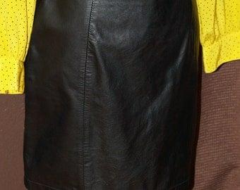 Vintage Black Leather Skirt...