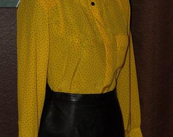 Vintage Darling Yellow & Black Polka Dot Blouse