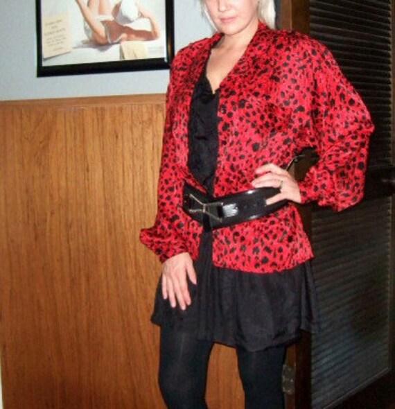 Vintage Animal Print Red Black Leopard Blouse Jacket ...