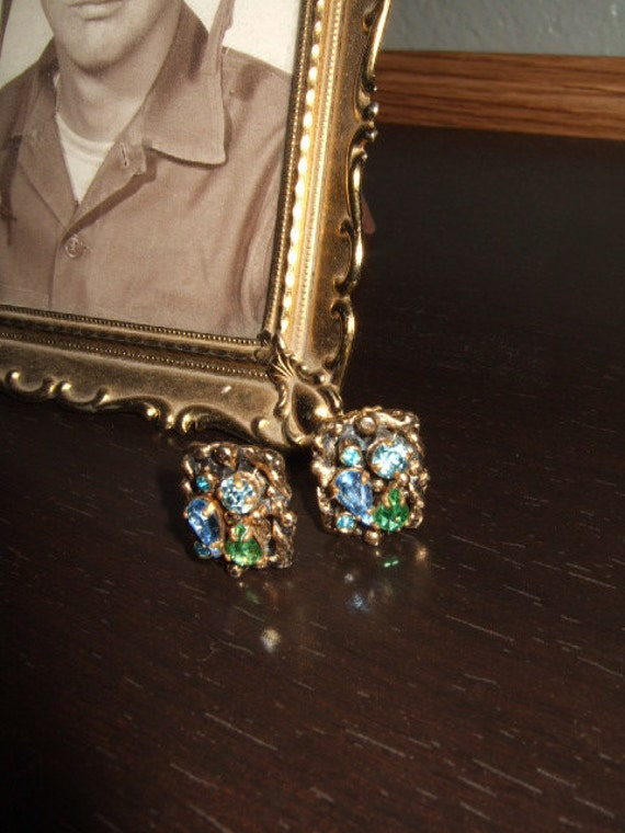 Vintage 50s Signed Barclay Rhinestone Blue Green Earrings ...