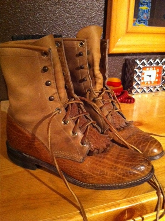 Vintage 80's 90's Justin Roper Granny Grunge Prairie Boots with Kilty