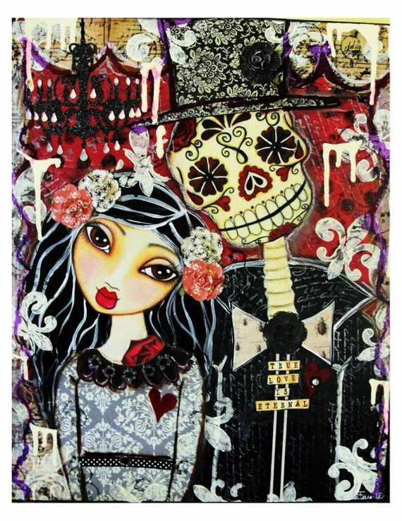 True Love Is Eternal Day of the Dead Couple Fine Art Print of