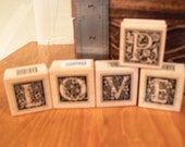 Rubber Stamps - Letters spell love