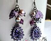 purple tone  swarovski crystal beadweaving earring