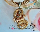 Golden shadow, or Silver shade swarovski crystal with Teal blue seeds beadweaving necklace