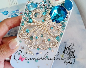 Apple Iphone 4, 5, 6, 7 cover, Swarovski Crystal Rhinetone with Crystalized Octopus,US Free Shipping