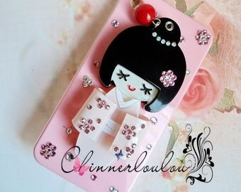 20% off sale. Apple iphone  5 or 4s case, Japanese doll mirror with swarovski crystal rhinestone, Free US shipping