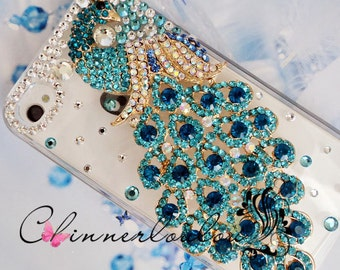 Apple Iphone 6 or 5s Case , Swarovski Crystal Rhinetone with Crystalized Peacock