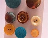 Huge Holiday Blowout Sale Vintage Button Magnet Set - Turquoise & Copper