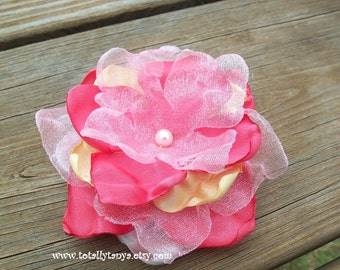 CUSTOM REQUEST IT..Coral and Yellow Satin and Organza Flower Clip
