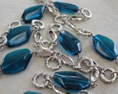 Teal Jewels and Antique Silver Chain