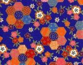 Japanese Kimono Fabric Tape - Self Adhesive - Sakura Hexagon in Blue