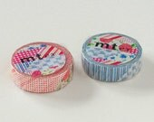 mt ex Washi Masking Tape - Flowers & Stripes in Red or Blue