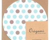 Japanese Circle Origami Paper 15cm (6 inches) - Aquamarine & Taupe Spots