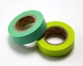 mt Washi Masking Tape - Mint & Lime Green - Set 2 (15m rolls)