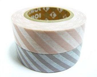 mt Washi Masking Tape - Peach Pink & Pinkish Grey Stripe - Set 2 (15m rolls)