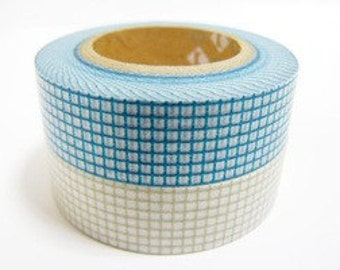 mt Washi Masking Tape - Teal Green Grid Check - (15m roll)