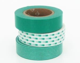 mt Washi Masking Tape - Turquoise Green Dots & Stripes - Set 3 (15m rolls)
