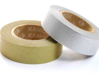 mt Washi Masking Tape - Metallic Gold & Silver - Set 2 (15m rolls)