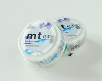mt ex Washi Masking Tape - Red or Blue Silhouette (15m roll)