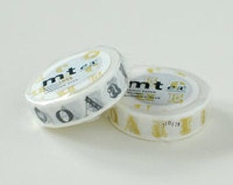 mt ex Washi Masking Tape - Gold or Black Alphabet (15m roll)