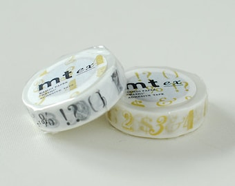 mt ex Washi Masking Tape - Numbers & Symbols in Black or Gold (15m roll)
