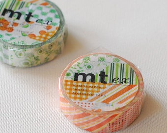 mt ex Washi Masking Tape - Flowers & Stripes in Green or Orange