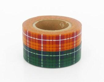 mt Washi Masking Tape - Green & Orange Tartan Check - Set 2 (15m rolls)