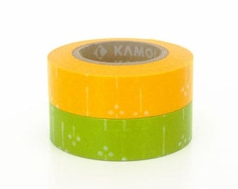 mt Washi Masking Tape - Yellow & Lime Green Flower - Set 2 (15m rolls)
