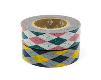 mt Washi Masking Tape - Pink & Yellow Argyle - Set 2 (15m rolls)