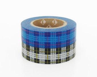 mt Washi Masking Tape - Blue & Grey Tartan Check - Set 2 (15m rolls)