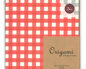 Japanese Origami Paper 15cm (6 inches) - Red & Pale Blue Checks