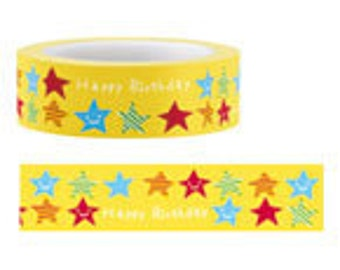 Funtape Masking Tape - Happy Birthday Stars in Yellow
