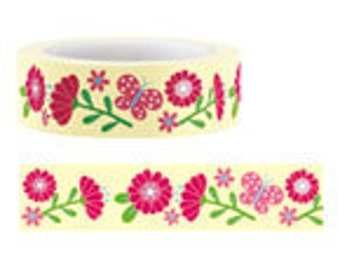 Funtape Masking Tape - Pink & Yellow Flowers