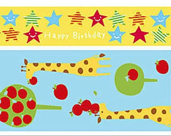 Funtape Masking Tape - Yellow Stars & Apple Giraffe - Wide Set 2