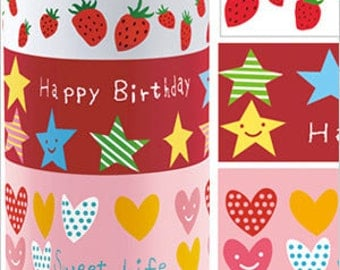 Funtape Masking Tape - Strawberries, Stars & Hearts - Wide Set 3