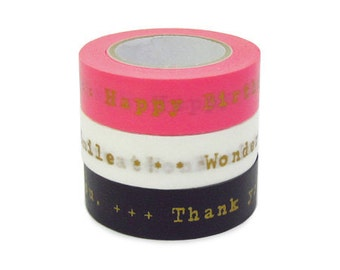 Colte Washi Masking Tape - Gold Gift Messages - Set 3