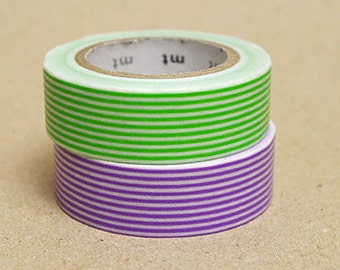 mt Washi Masking Tape - Green & Purple Stripes - Set 2