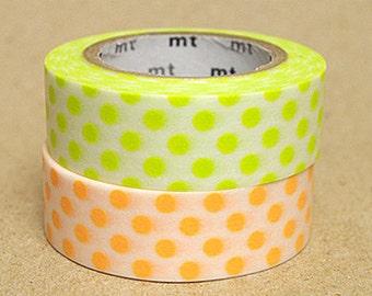 mt Washi Masking Tape - Lime Green & Apricot Spots - Set 2