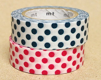 mt Washi Masking Tape - Bottle Green & Red Spots - Set 2