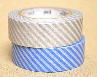 mt Washi Masking Tape - Light Blue & Silver Stripes - Set 2