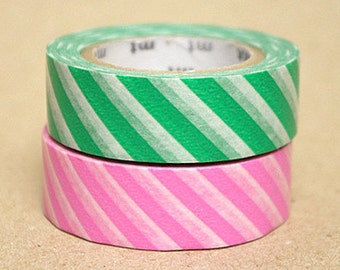 mt Washi Masking Tape - Pink & Green Stripes - Set 2