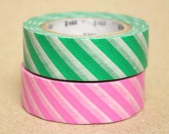 mt Washi Masking Tape - Pink & Green Stripes - Set 2