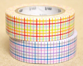 mt Washi Masking Tape - Red & Blue Checks - Set 2