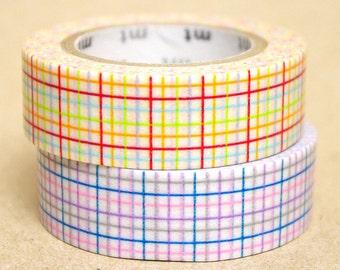mt Washi Masking Tape - Red & Blue Checks - Set 2