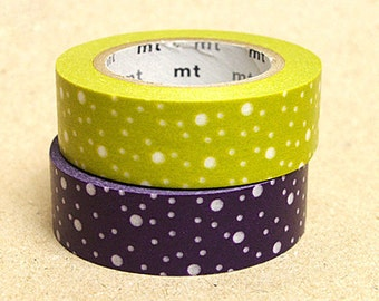 mt Washi Masking Tape - Purple & Green Hail Dots - Set 2