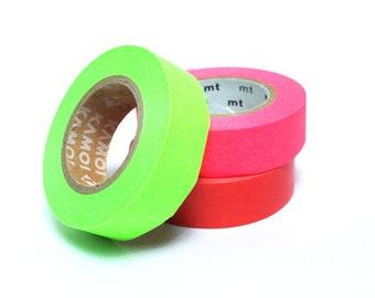 mt Washi Masking Tape - Shocking Pink, Red & Green - Set 3 - Neon (15m rolls)